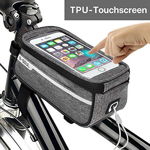 Sporcis Fahrradtasche Rahmentasche Fahrrad Handyhalterung, Fahrradlenkertasche Kopfhörerloch TPU Sensitive Touchschirm Tasche Handyhalter Geeignet für Smartphones Innerhalb von 6 Zoll, 1L (Grau)