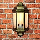Rustikale Wandleuchte in antikgold inkl. 1x 12W E27 LED 230V Wandlampe aus Aluminiumdruckguss für Garten/Terrasse Garten Weg Terrasse Lampe Leuchten außen