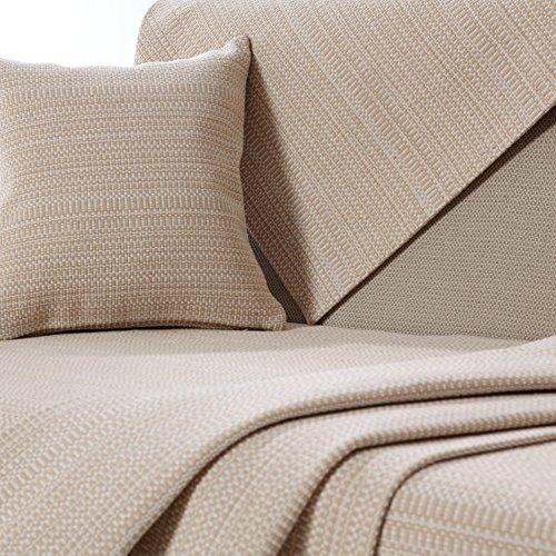 DW&HX American Style Baumwolle und leinen Sofa Handtuch,Sofa abdeckungen für ledersofa Couch-Protector für Hund -beige 110x90cm(43x35inch)