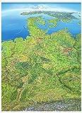 Panoramakarte Deutschland: einseitig laminiert, mit Leisten oben und unten