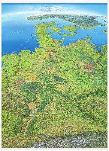 Panoramakarte Deutschland Poster einseitig laminiert (Karten Laminierte)