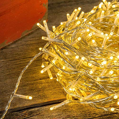 LED Lichterkette Goodia 46ft 100er LED Outdoor Lichterkette ,Warmweiß Weihnachtsbeleuchtung Deko, Party, Hochzeit, Garten [Energieklasse A+]