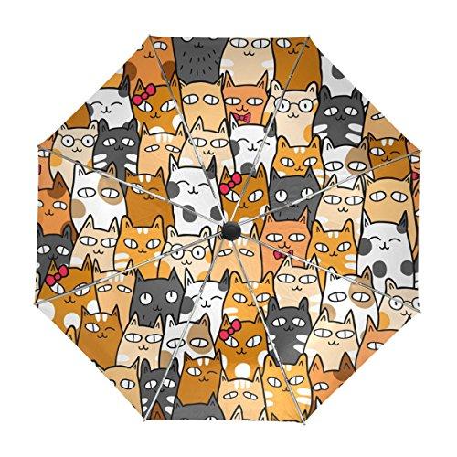 MyDaily - Paraguas Viaje diseño Emoji Gatos, Cierre
