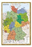 iPosters Deutschland Karte Pinnwand–Kork Board mit Pins gerahmt in Eiche inkl. Stecknadeln, 96,5x 66cm (ca. 96,5x 66cm)