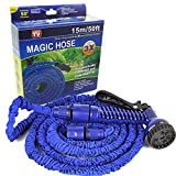 #7: Home Garden Necessary 50 FT Plastic Expandable Hose With Spray Gun 15M Garden Magic Hose Water Pipe Multi Color-zeebly