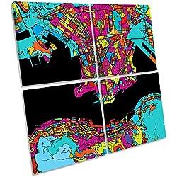 Canvas Geeks Póster Enmarcado con diseño de Mapa de Hong Kong, 60cm Wide x 60cm High