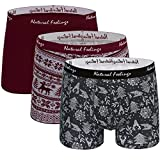 Natural Feelings Mens Underwear Christmas Style Trunk Boxer Shorts, Pack of 3