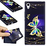 Sony Xperia XA1 Case, Sony Xperia XA1 Silicone TPU Transparent Cover, COZY HUT Premium Ultra Slim Thin Silicone Flexible Quality TPU Soft Pattern Design Cute Black Cover, Gel Plastic Protective Shock Absorption Proof Drop Defend Anti Scratch Shell for Sony Xperia XA1 - Golden butterfly