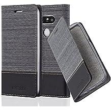 Cadorabo - Etui Housse pour LG G5 - Coque Case Cover Bumper Portefeuille en Design Tissue-Similicuir avec Stand Horizontale, Fentes pour Cartes et Fermeture Magnétique Invisible en GRIS-NOIR