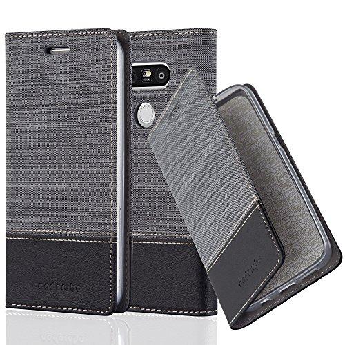 Cadorabo Hülle für LG G5 - Hülle in GRAU SCHWARZ – Handyhülle mit Standfunktion und Kartenfach im Stoff Design - Case Cover Schutzhülle Etui Tasche Book