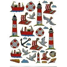 Faro en balsa barco de anclaje colorido pegatinas, 1hoja, 135mm x 100mm adhesivo para niños Craft fiesta aspecto metálico
