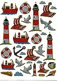 phare Radeau Ancre Bateau Multicolore autocollants 32pièces 1feuilles 135mm x 100mm Stickers bricolage enfants PARTY métallique