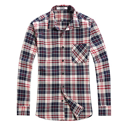 OCHENTA Hemden Herren Langarm Plaid Flanellhemd N004 Blau Weiß EU S (Asien L) (Blau Plaid Shirt L/s)