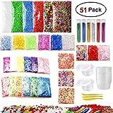 MCUILEE 51 Pack de fabricación de limo Kits de Suministros Para Niños DIY Bolas de Espuma de Colores Granos Planos Perlas de Oro Polvo de Caramelo de Polímero Juego de arcilla polimérica