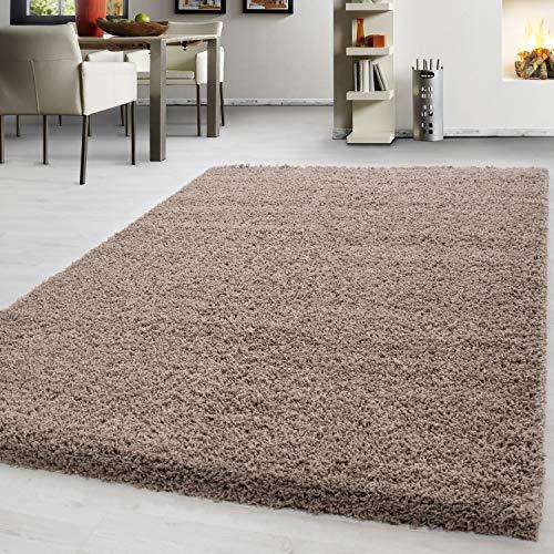 Teppium tappeto alto pelo alto tappeto ispido tappeto monocolore monocromatico tappeto a colori facile cura facile e veloce, farbe:beige, dimensione:100 cm x 200 cm