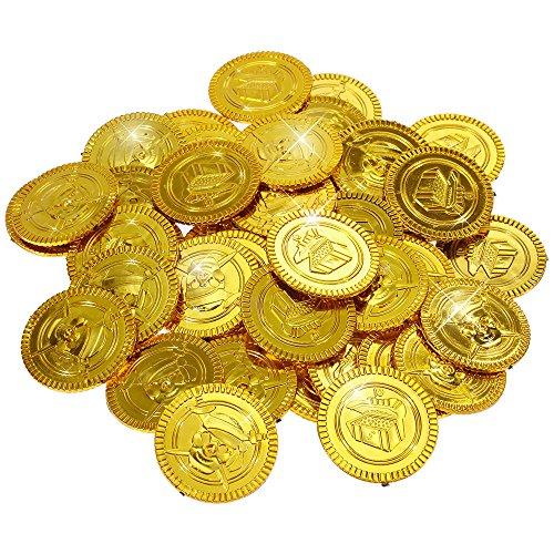 Goldge 50 Pcs Gold-Münzen Spielgeld für Kinder Spielzeug Mitgebsel mit Kindergeburtstag Kleine Geschenk für Party - Gold Münze