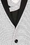 White Polka Dotted Satin Peak Lapel Designer Men's 3 Piece Suit