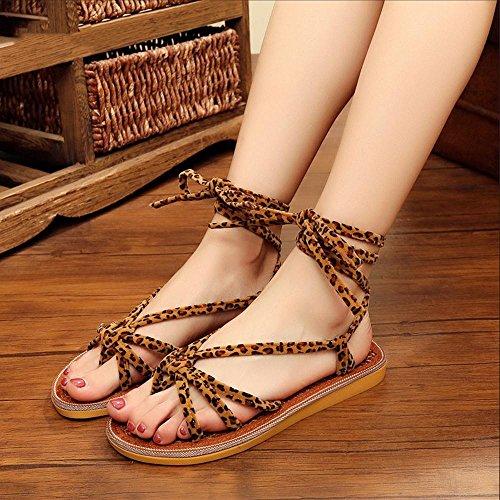 GJDE Donne Sandali Dolce Stile Spiaggia Scarpe Perline-Strap Peep Toe Pantofole leopard print