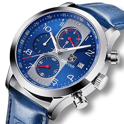 Fashion Herren Uhren Chronograph Analog Quarz Datum Wasserdicht Blau Leder Sport Armbanduhr
