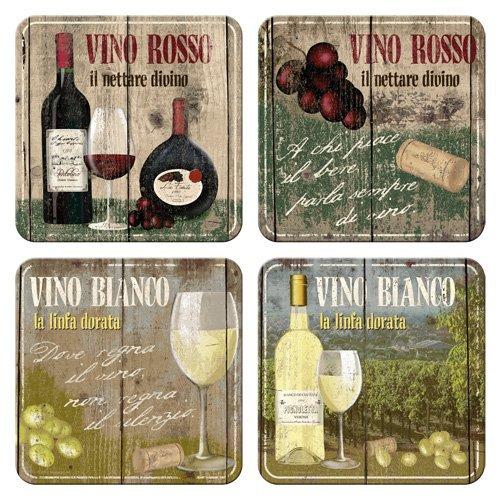 Nostalgic-Art 46012 Open Bar - Vino Rosso & Bianco, Untersetzer-Set (4teilig) -
