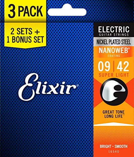 Elixir 16540 Electric 009/042, 3 Sets in einer Verpackung (009 Guitar String, Electric)