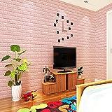 GOGO GO Wandtattoo Ziegel 70x77x1cm helle Rosarot Wandsticker Schaumstoff DIY Brick Wasserdicht aus hochwertigem PVC verdickt für Schlafzimmer 2 Jahren Garantie