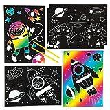 Baker Ross Lehrreiche Sonnensystem-Kratzbilder für Kinder Zum Basteln, Gestalten und als Deko (6 Stück)