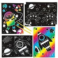 Baker Ross Dibujos del Sistema Solar para rascar - Juego Educativo Que los niños Pueden Crear, Personalizar y exhibir como Manualidades Creativas Scratch Art (Pack de 6).