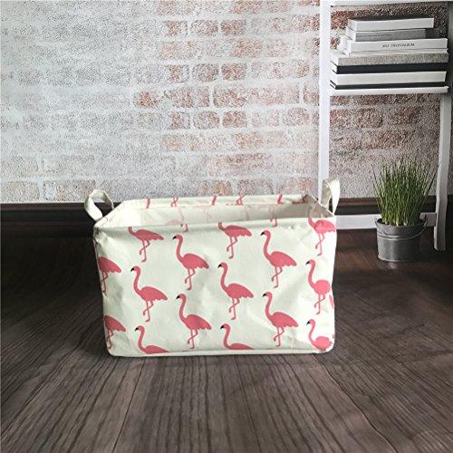 Inwagui Faltbar Leinen Wäschekorb Stoff Haushalt Organizer Korb Wäschesammler Wäschesack Kleiderschrank Organizer 39* 25* 22cm-Flamingo A