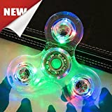 #9: USA ACRYLIC CRYSTAL CLEAR RAINBOW LED LIGHT HAND FIDGET SPINNER CUBE TRI DESK TOY GLITTER PLASTIC
