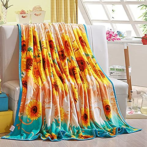 ShineMoon Bedding Plush Coral Fleece Blanket for Sofa Couch Beds Super Soft Bright Sunflowers Pattern Warm Throws for Baby Kids, 120x200cm