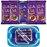 Throni Cadbury Dairy Milk Silk Pack of 5 Combo with Container