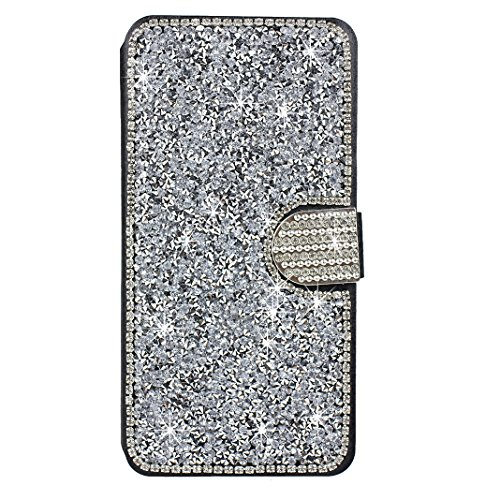 Schutzhülle iPhone 8 Plus Leder, Hülle für iPhone 7 Plus Bling Glitzer, iPhone 8 Plus Bumper, [Voll frontal Dreieck Diamant Design] Moon mood® Glitter Case Skin Ledertasche für Apple iPhone 7 Plus/8 P Silber