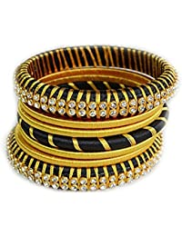 Akshara Fashions Silk Thread Bangles Black & Golden Color 16 Pieces