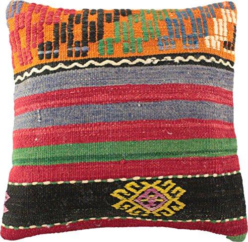 Kelim Kissen handgefertigt, Wolle, Kissenbezug 40 x 40 cm, Orientalisch in verschiedenen Motiven, Farben und Grössen