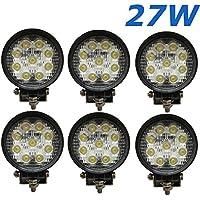 6 X 27W 4,3INCH LED LIGHT WORK 2565LM LÁMPARA LED PROYECTOR DE COCHE TODOTERRENO LÁMPARA CAMIONES, TRACTORES VEHÍCULOS INDUSTRIALES TODO BARCO UTE 12 V, 24 V CC, COLOR BLANCO