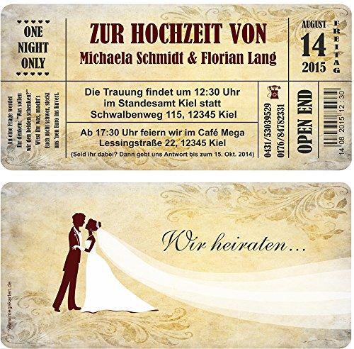 Einladungskarten zur Hochzeit 20 Stück