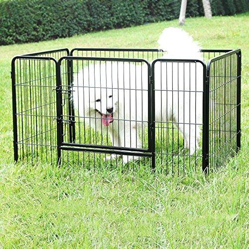 Songmics Welpenauslauf für Hunde Kaninchen kleine Haustiere 122 x 70 x 80 cm schwarz PPK74H -