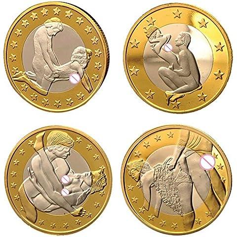vybio (TM) S 4pcs/lot oferta especial venta Sexo euros monedas chapado en oro alemán desafío arte monedas