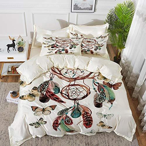 Yaoni Bettwäsche-Set, Mikrofaser, Feder, Traumfänger mit Schmetterlingen und allsehendem Auge Ethnischer Aquarellstil, Mehrfarbig,1 Bettbezug 220 x 240cm + 2 Kopfkissenbezug 80x80cm