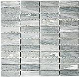 Mosaik Fliese Keramik Stäbchen Steinoptik grau für BODEN WAND BAD WC DUSCHE KÜCHE FLIESENSPIEGEL THEKENVERKLEIDUNG BADEWANNENVERKLEIDUNG Mosaikmatte Mosaikplatte