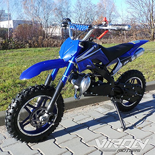 Pocketbike 49cc Enduro Pocket Cross Bike Mini Motorrad Minibike Dirtbike (blau) Fussraste Dirt Bike