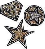 Strass Glitzer Stern Sterne Aufnäher Patches Aufbügler Bügel Sticker Bügelbilder Applikation Set mit Strass Pailletten Glitzer zum aufbügeln