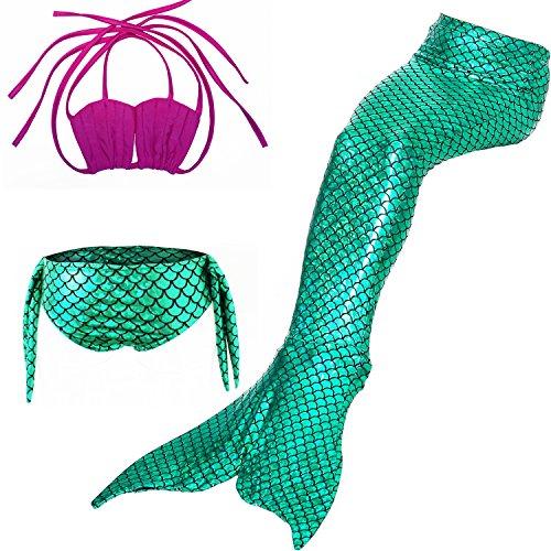 Das Beste Mädchen Meerjungfrau Bikini Kostüm Schwimmanzug Badeanzüge Tankini Muschelbikini Bademode Badeanzüge Meerjungfrauenschwanz Schwimmen Baden, 140, Farbe: heiß Rosa+grün