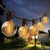 Guirlande Lumineuse Exterieur Solaire,Bomcosy 80Ft G40 Guirlandes Lumineuses avec 42 LED Ampoules Blanc Chaud (2 ampoules rec