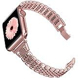 Wearlizer Correa compatible con Apple Watch Correa de 38 mm 40 mm, correa de metal para iWatch Series 5, 4, 3, 2, 1, oro rosa