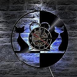 reloj de pared Lyy Amor Gatos Animales LED Vinilo Ligero Color Cambio Moderno Vendimia Hecho a Mano Casa Decoración Art Lámpara Remoto Controlar