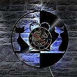Lyq 12' Liebe Katzen Tiere Led Vinyl Uhr Mauer Licht Farbe Veränderung Modern Jahrgang Handarbeit Zuhause Dekor Kunst Lampe Fernbedienung Steuerung