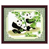 DOMEI Stamped Cross Stitch Kit, Happy Panda Family, 25.6 x 20.9 inches