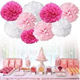 "Chocozone 12"" DIY Pom Pom Flower Party Props Party Supplies Birthday Decorations Items for Girls ( Shades of Pink) (Pack of 8"